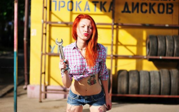 Tires Sexy Girl Redhead Tattoo Wrench Shorts