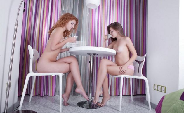 Two Young Lesbians Kissing After Tea Time
