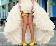 White Long Dress Girl Shoes Garter Legs