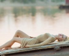 Wooden Pier Girl Dress Legs Relaxing