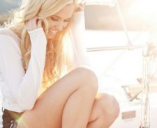 Yacht Sea Girl Blonde Eyes Smile Legs Shorts